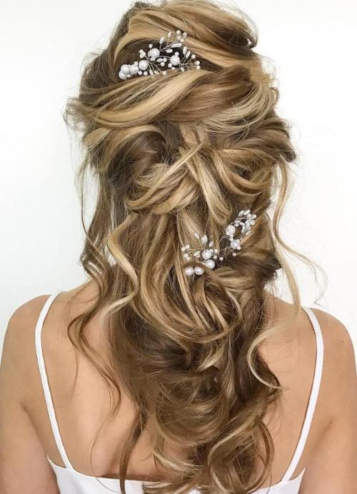 Swirled-Wavy-Half-Up-Style 14 Gorgeous Wedding Hairstyles for Long Hair