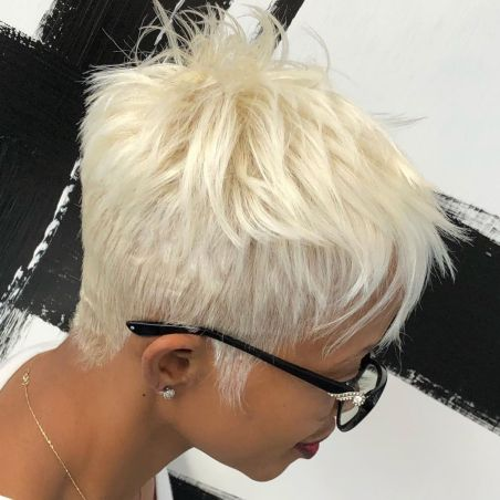Tapered-Platinum-Cut-with-Feathered-Crown 12 Great Short Hairstyles for Black Women