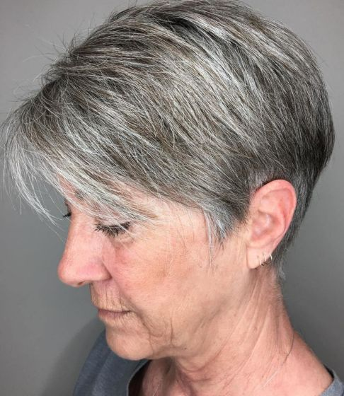 Tapered-Salt-and-Pepper-Cut-with-Bangs Hairstyles for Women Over 60