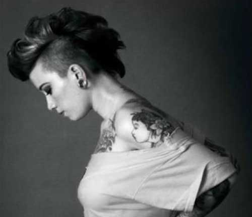 Tempting-Hairstyle Brilliant Half Shaved Head Hairstyles for Young Girls