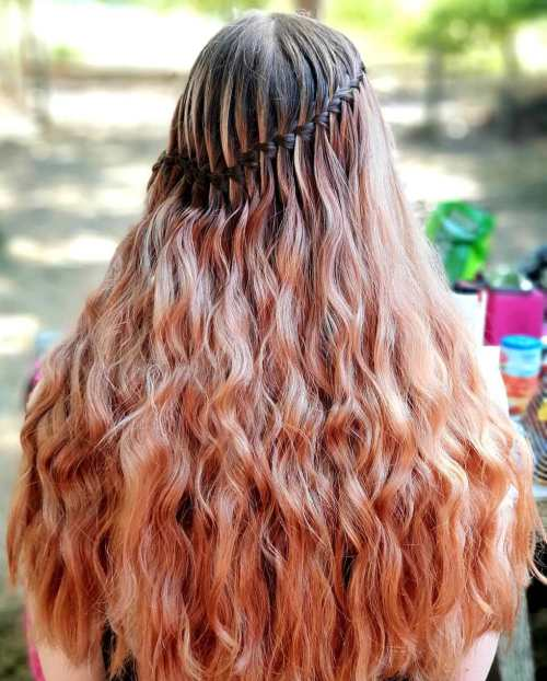 Waterfall-Braid-for-Long-Curly-Hair 10 Super-Flattering Braided Hairstyles for Curly Hair of Different Types