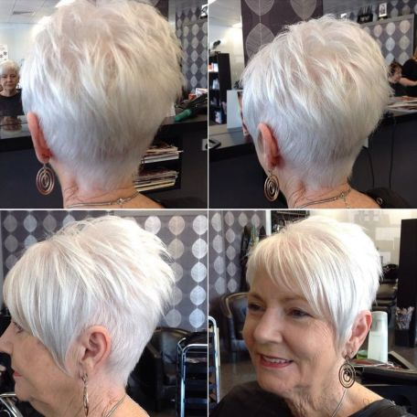White-Short-Cut-with-Asymmetrical-Bangs Hairstyles for Women Over 60