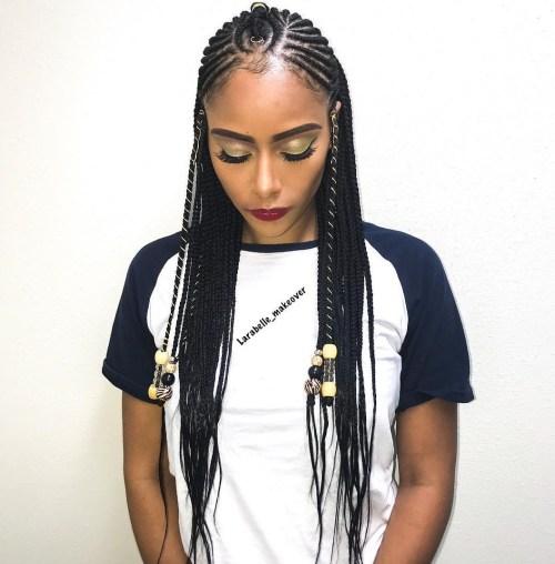 Youthful-Fulani-Crown-with-Horizontal-Braids 14 Amazing Fulani Braids for Black Women