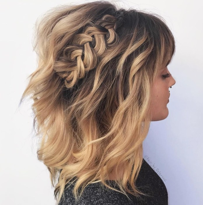 loose-waves-with-a-floppy-braid. 10 Shoulder Length Layered Hairstyles To refresh your current look