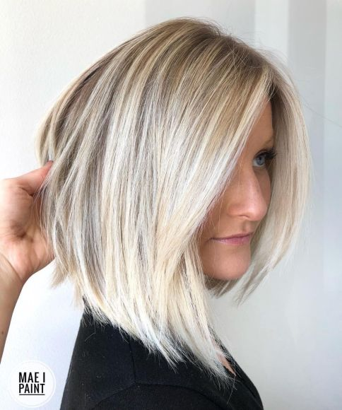 Angled-Lob-with-Bright-Blonde-Balayage 14 Mind-Blowing Haircuts for Thin Hair