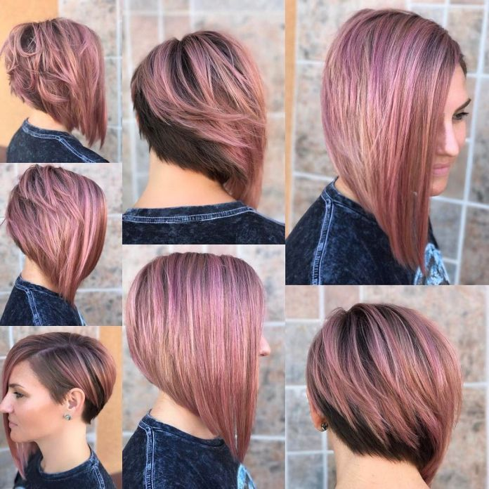 Asymmetrical-Rose-Pink-Bob-Cut Most Coolest Medium Hairstyles with Color