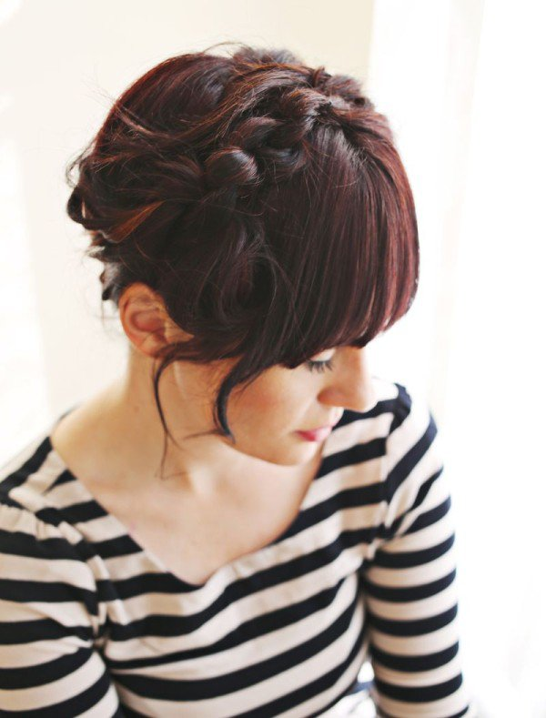 Burgundy-Flip-Over-Braid-Hairstyle Most Amazing Medium Braided Hairstyles