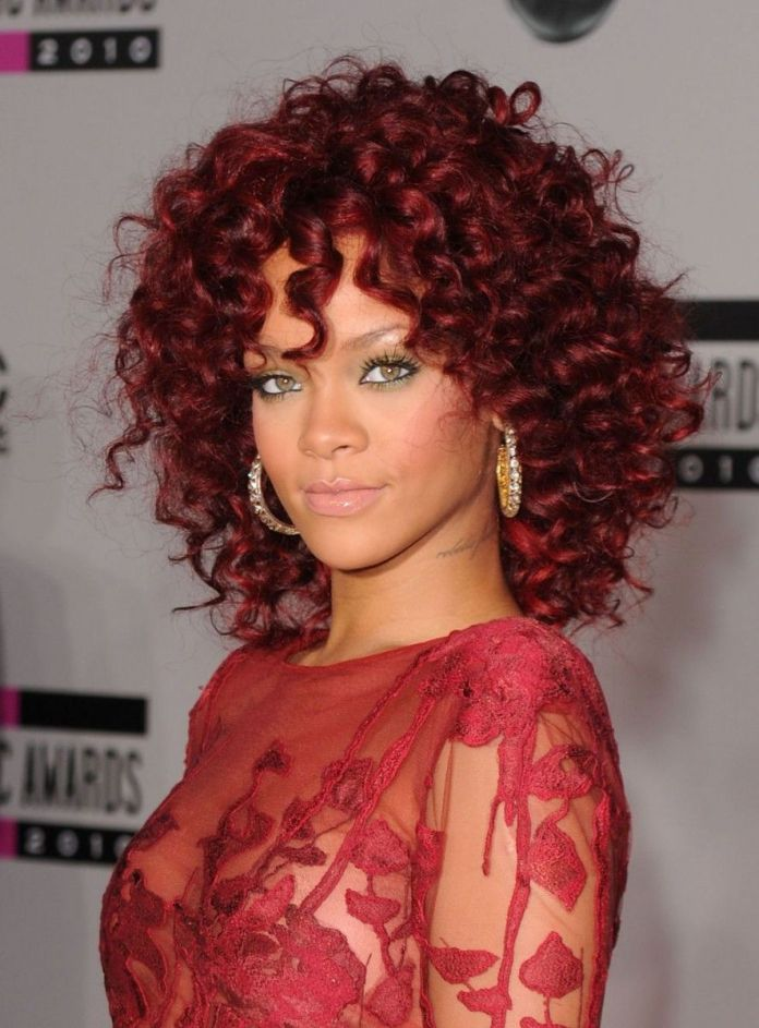 Burgundy-Red-Curly-Hair Most Coolest Medium Hairstyles with Color