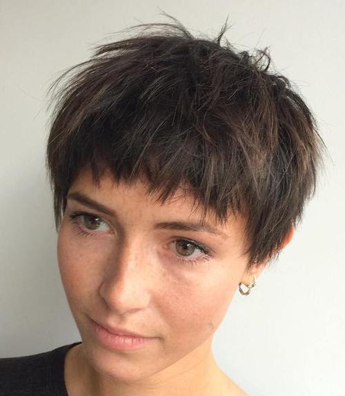 Choppy-Bowl-Cut 12 Trendiest Short Brown Hairstyles and Haircuts