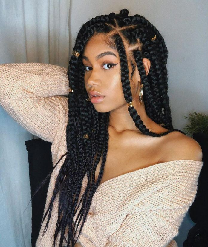 Chunky-Box-Braids-with-Beads Natural Hair Braids to Enhance Your Beauty
