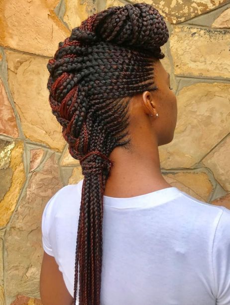 Chunky-Mohawk-Braid-with-Cornrows 12 Stunning Black Braided Hairstyles 2020