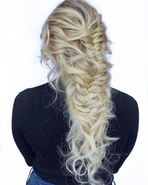Deconstructed-Blonde-Fishtail-Braid 10 Eye-catching Braids for Curly Hair of Different Types