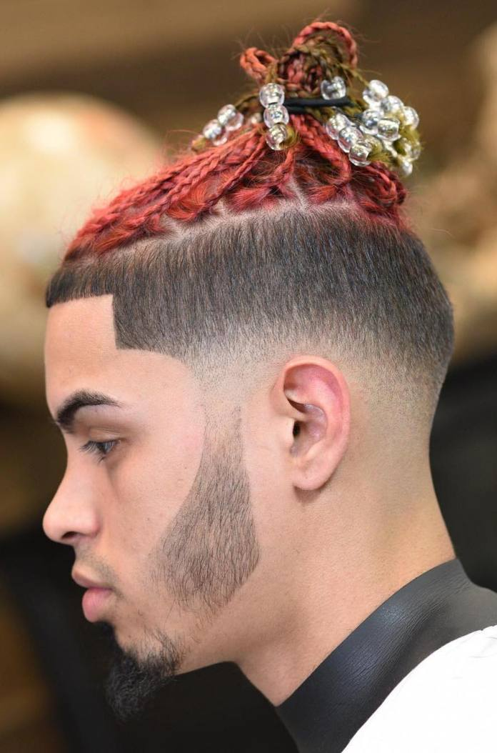 Dyed-Braids-with-French-Crop-and-Low-Fade Dashing and Dapper Braids for Boys