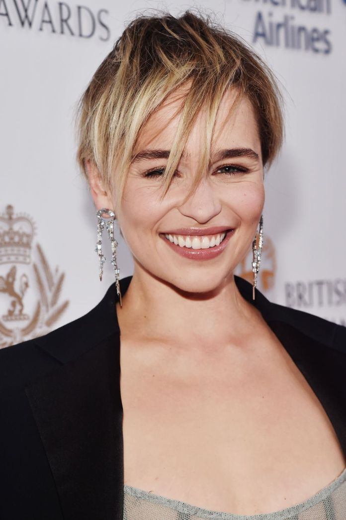 Emilia-Clarkes-Exaggerated-Bangs-1 15 Pixie Cuts for All Hair Textures in 2020