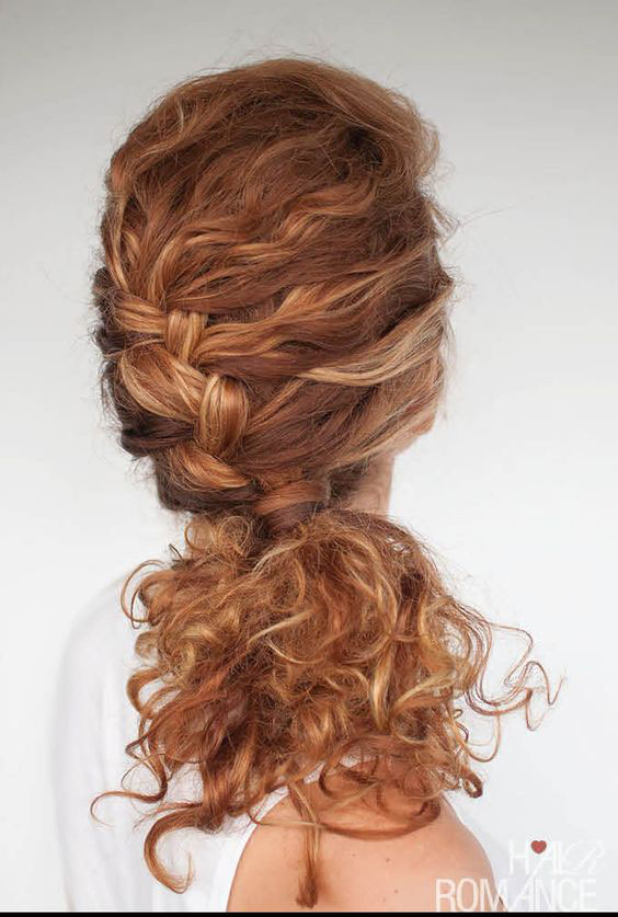 French-Braided-Low-Ponytail 11 On-trend Haircuts for Girls With Extremely Curly Hair