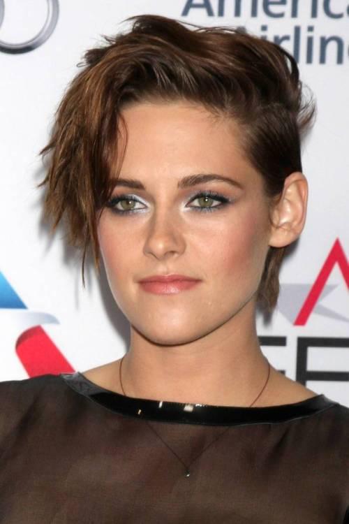 Grunge-Style-Asymmetric-Haircut-Of-Kristen-Stewart 12 Trendiest Short Brown Hairstyles and Haircuts