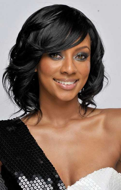Keri-Hilson's-Short-Bob-Layered-Hairstyle-with-Side-Apart Naturally Short Hairstyles for Beautiful Black Women