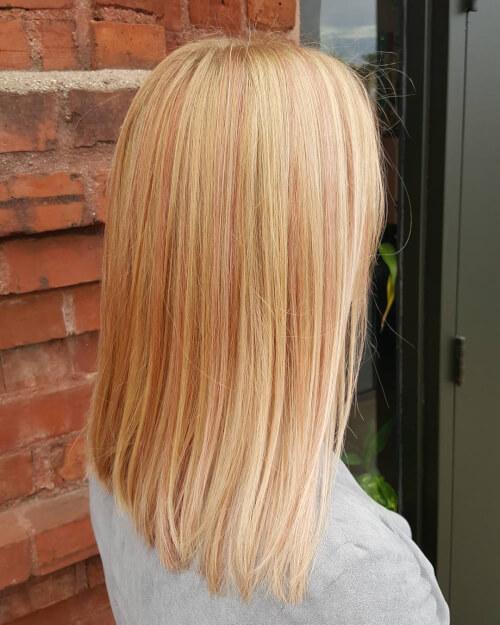 Light-rose-gold-highlights-on-blonde-hair Best rose gold hair color ideas