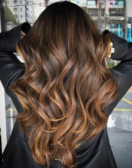 Long-Waves-with-Warm-Caramel-Balayage Balayage and Everything About This Trendy Hair Color