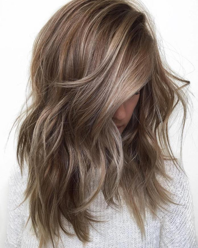 Mid-Length-Ash-Brown-Hair Most Coolest Medium Hairstyles with Color