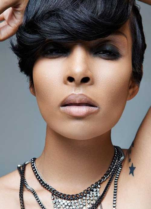 Most-Chic-Short-Haircuts-for-Black-Women-with-Bangs Naturally Short Hairstyles for Beautiful Black Women