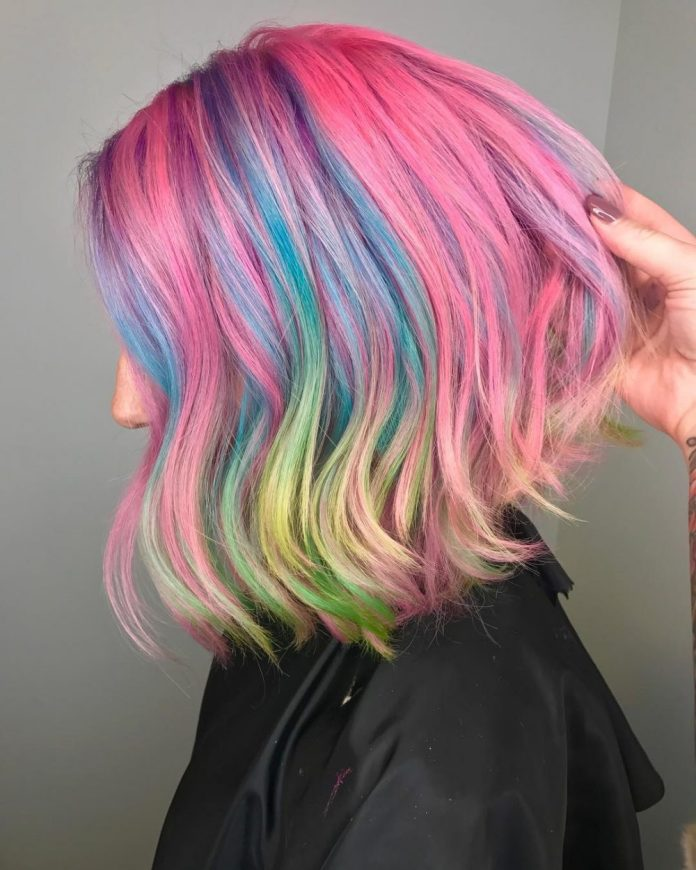 Multicolored-Bob-Cut Most Coolest Medium Hairstyles with Color