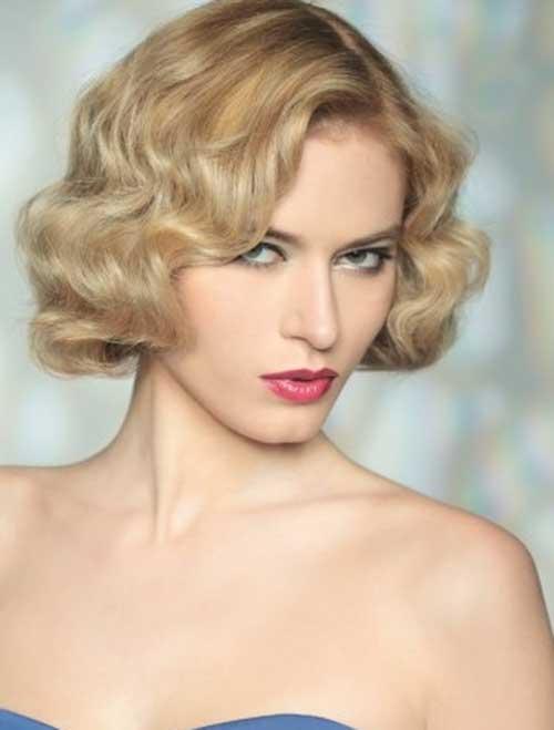Old-Fashion-Wedding-Short-Curly-Bob-Blonde-Hair Best Wedding Bob Hairstyles You will Look Like Princess