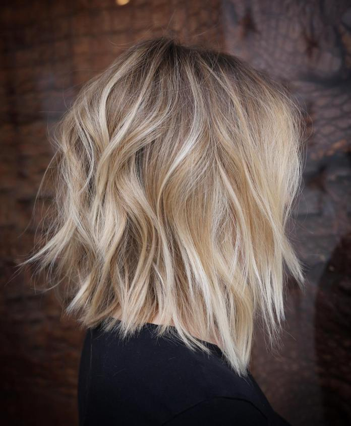 Razored-Blonde-Lob-with-White-Ends Lob Haircuts 2020 for Ultra Glamorous Looks
