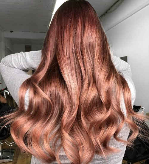 Rose-gold-highlights-on-brown-hair Best rose gold hair color ideas