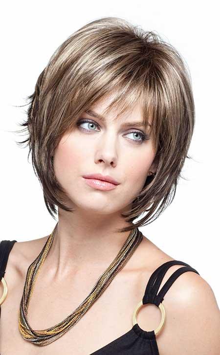 Short-Voluminous-Layered-Bob-with-Thin-Bangs Gorgeous Layered Cut Bob Hairstyles