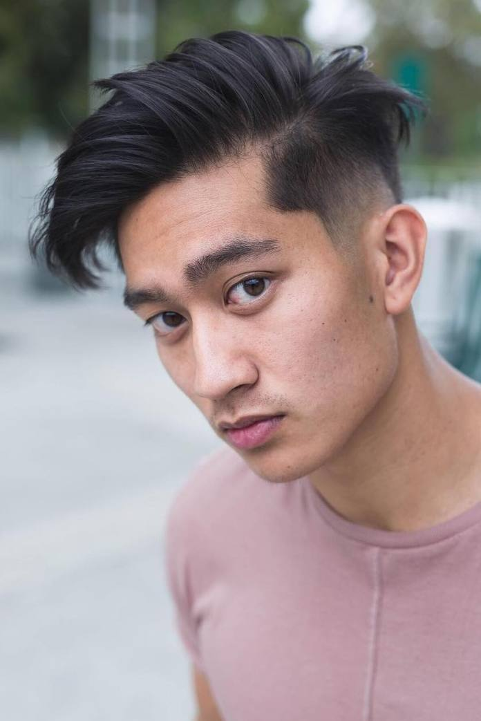 Side-Swept-Hair-with-Gradually-Faded-Sides Dashing Korean Hairstyles for Men