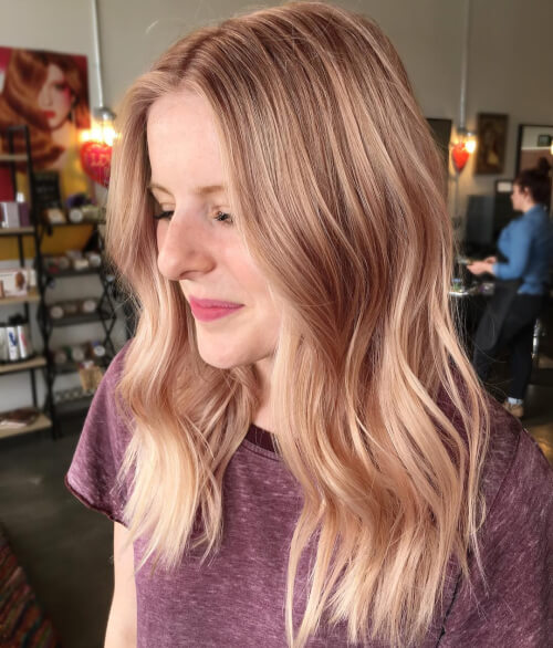 Soft-peach-and-rosy-hair Best rose gold hair color ideas