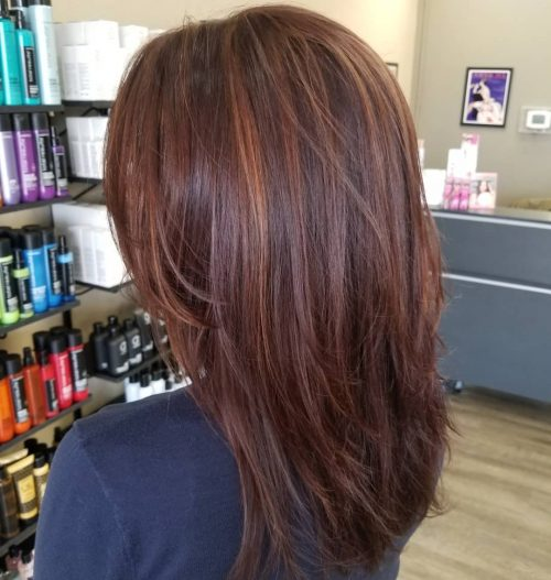 Straight-layered-dark-red-hair 12 Trending Long Layered Haircuts in 2020
