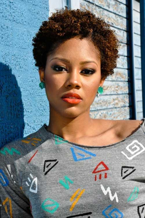 Very-Short-Curly-Afro-Haircut Naturally Short Hairstyles for Beautiful Black Women