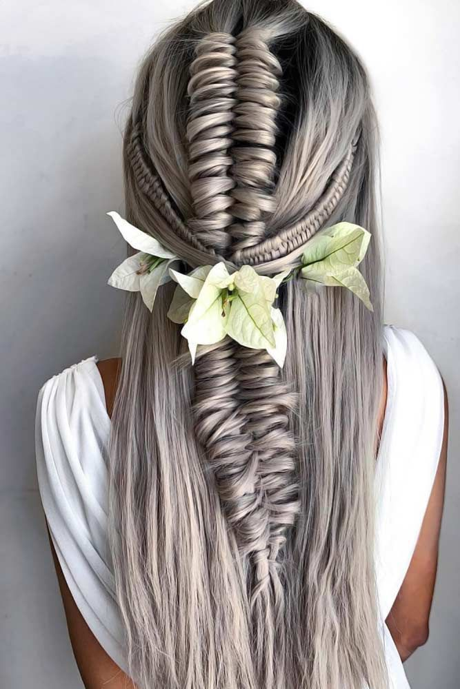 Voluminous-Grey-Knotted-Braid Braids Hairstyles 2020 for Ultra Stylish Looks