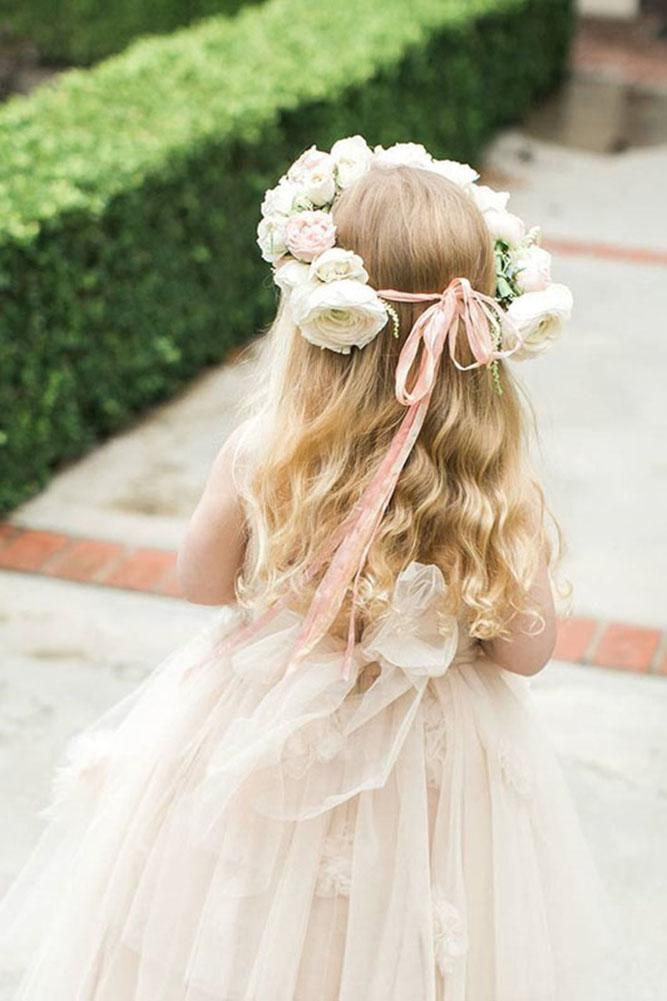 White-Rose-Garland-Hairstyle Most Cutest Flower Girl Hairstyles
