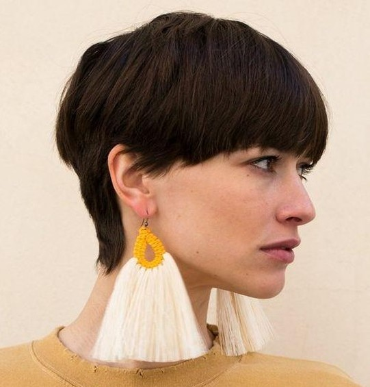 A-full-straight-fringe 10 Best Short Hairstyles With Bangs