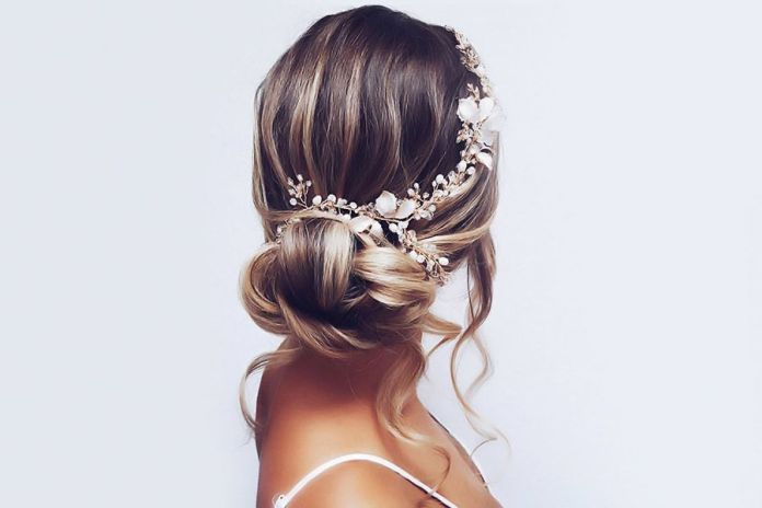 Accessorized-Messy-Highlighted-Bun 25 Prom Hairstyles 2020 for an Exquisite Look