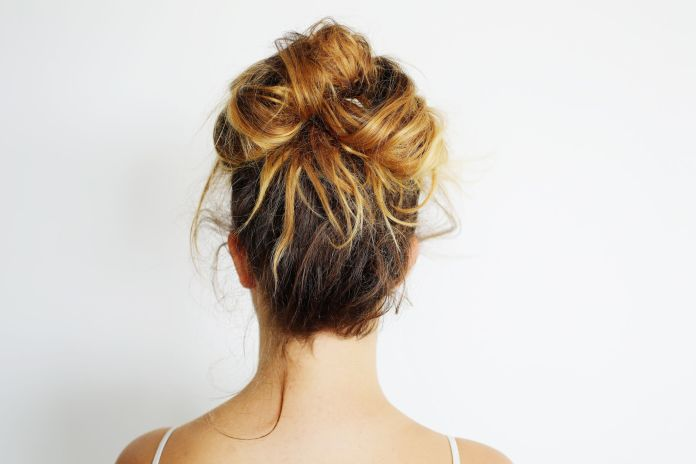 Black-and-Blonde-Messy-Bun-with-Circular-Pattern Messy Bun Hairstyle is the New Style to Enhance Your Look