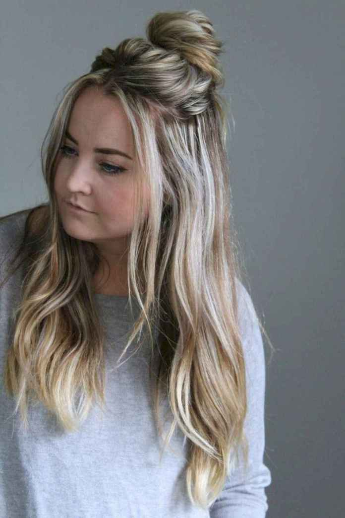 Blonde-Balayage-with-Half-Up-Tied-Messy-Bun Messy Bun Hairstyle is the New Style to Enhance Your Look