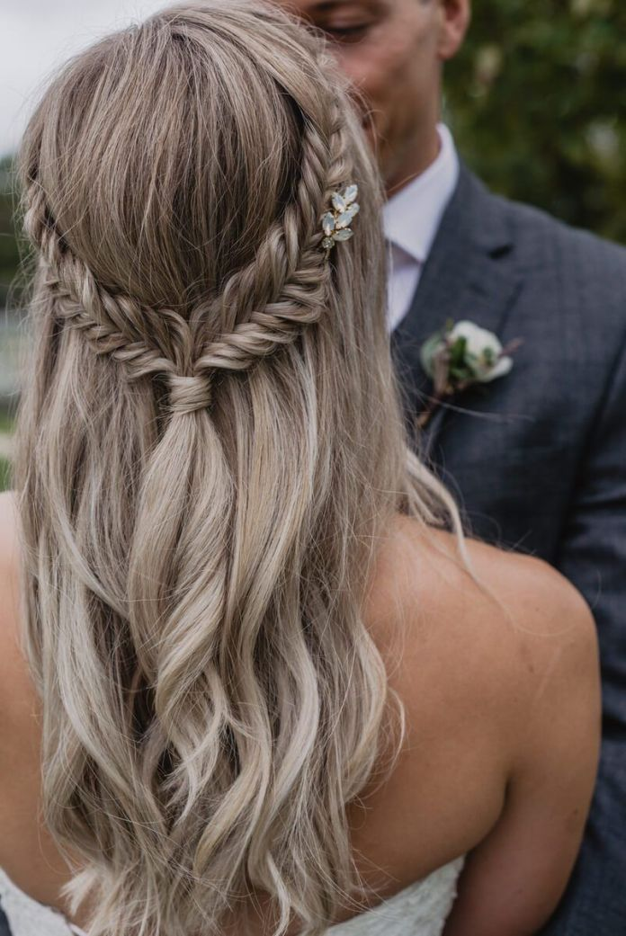 Fishtail-with-Waves 21 Bridal Hairstyles 2020 for an Elegant Look
