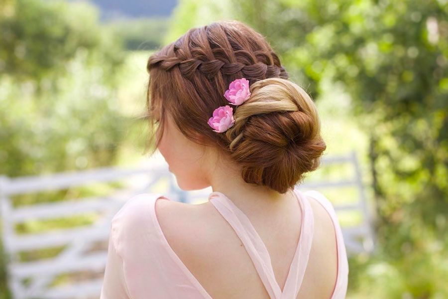 Flower-Updo-with-a-Side-Braid 25 Prom Hairstyles 2020 for an Exquisite Look