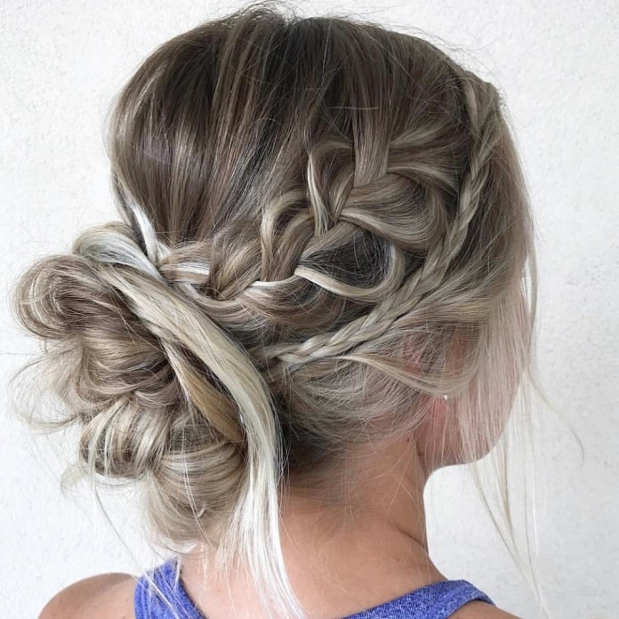 French-braids 20 Eye-catching Updo Hairstyles To Make Your Day