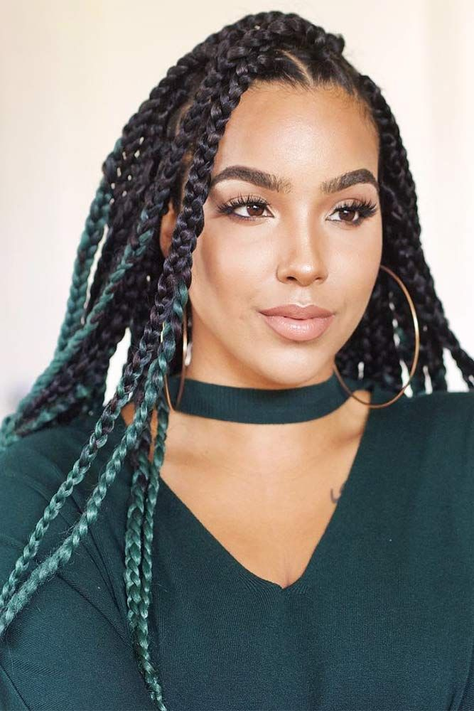 Green-and-Black-Braided-Hairstyle 25 Black Braided Hairstyles for Voguish Look