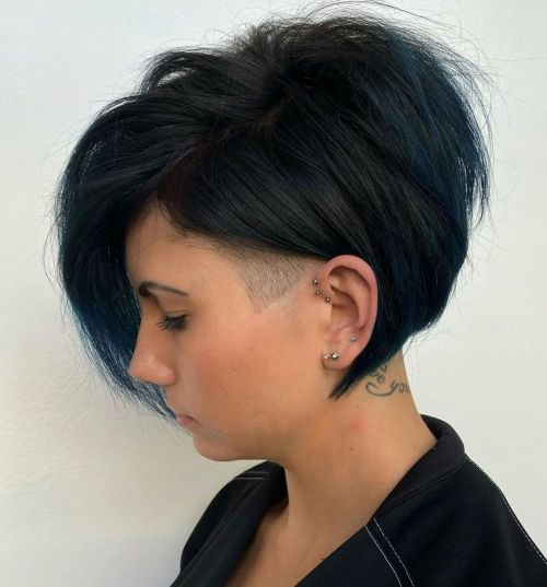 Side-Undercut-Bob 15 Stylish, Modern Undercut Bob Haircut in 2020