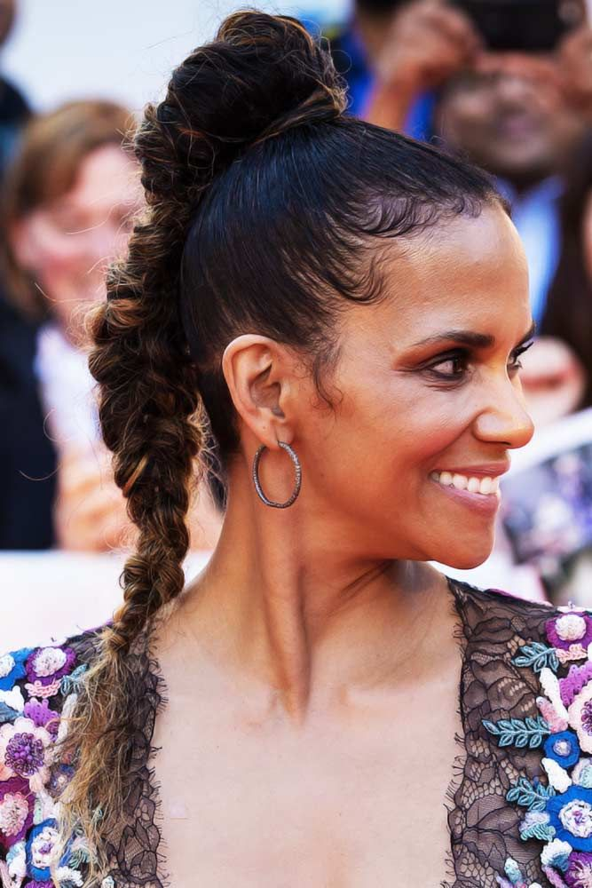 Top-Knot-with-Messy-Braid 25 Black Braided Hairstyles for Voguish Look