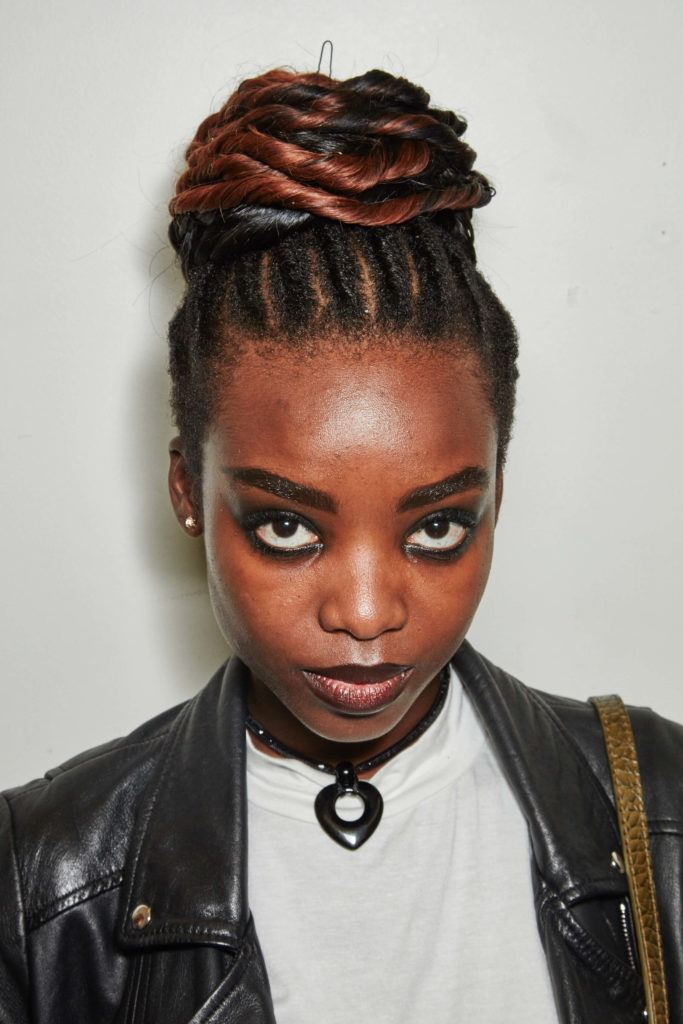Twisted-Double-Colored-Top-Bun 25 Black Braided Hairstyles for Voguish Look