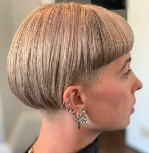 Undercut-Bob-with-Blunt-Bangs. 15 Stylish, Modern Undercut Bob Haircut in 2020