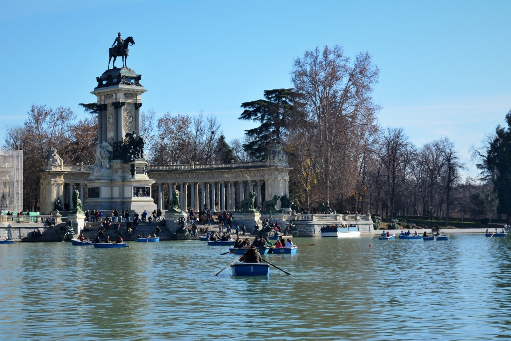 Boats on the pond in the Parque del Retiro Madrid