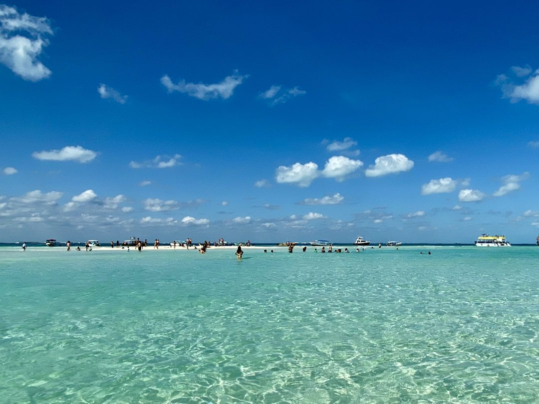 Sand bar off the coast of Playa Norte in Isla Mujeres, Mexico